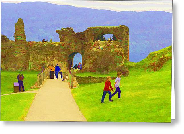 Building Greeting Cards - Tourists and the path at ruins of the Urquhart Castle in Scotland Greeting Card by Ashish Agarwal