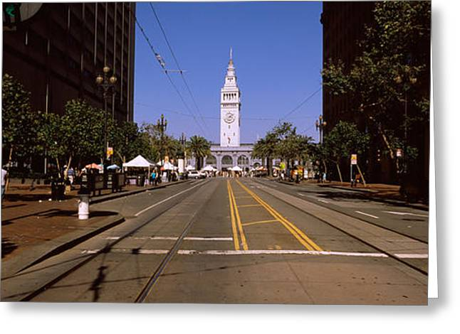 Ferry Building Greeting Cards - Tourists At A Market Place, Ferry Greeting Card by Panoramic Images