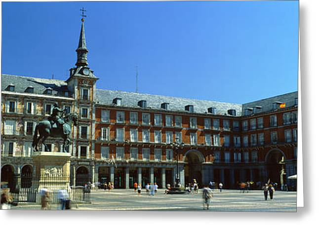 Town Square Greeting Cards - Tourists At A Palace, Plaza Mayor Greeting Card by Panoramic Images