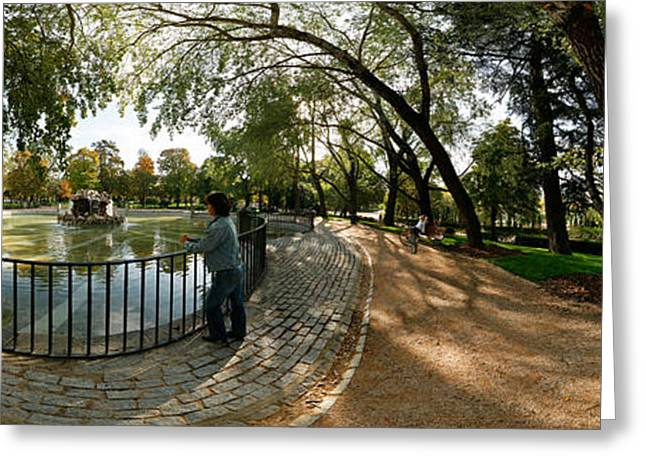 Fish Eye Lens Greeting Cards - Tourists At A Public Park, Buen Retiro Greeting Card by Panoramic Images