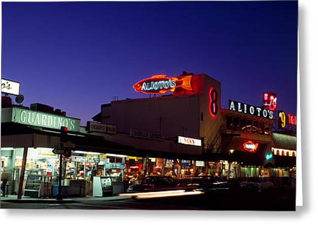 Fisherman Wharf Greeting Cards - Tourists At A Restaurant, Fishermans Greeting Card by Panoramic Images