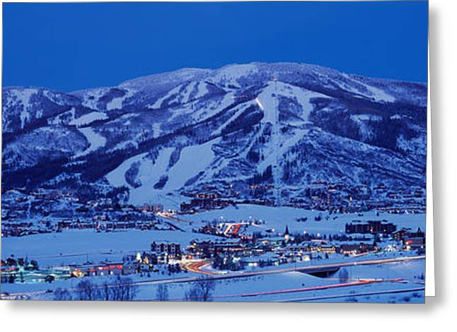 Steamboat Springs Greeting Cards - Tourists At A Ski Resort, Mt Werner Greeting Card by Panoramic Images