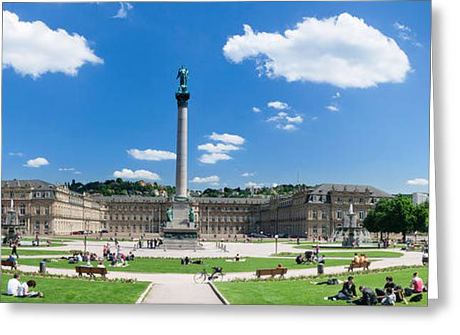 Town Square Greeting Cards - Tourists At A Town Square, New Palace Greeting Card by Panoramic Images