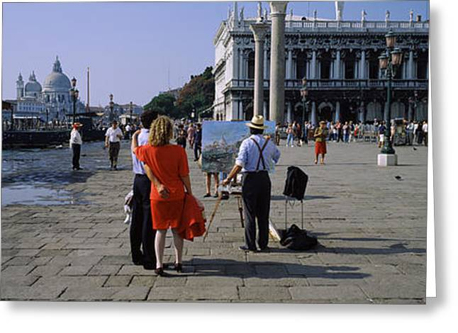 Tourists At A Town Square, St. Marks Greeting Card by Panoramic Images