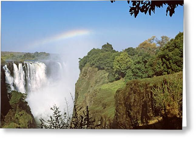 Zimbabwe Photographs Greeting Cards - Tourists At A Viewing Point Looking Greeting Card by Panoramic Images