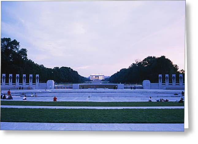 Memorial Photography Greeting Cards - Tourists At A War Memorial, National Greeting Card by Panoramic Images