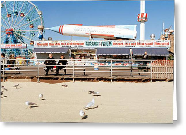 Medium Group Of Animals Greeting Cards - Tourists At An Amusement Park, Coney Greeting Card by Panoramic Images