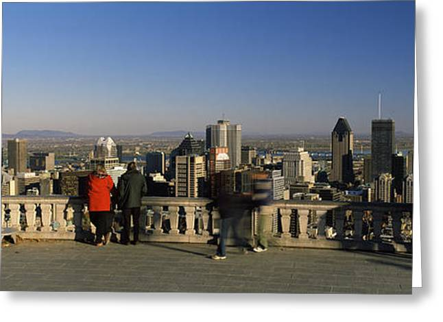 Observation Greeting Cards - Tourists At An Observation Point Greeting Card by Panoramic Images