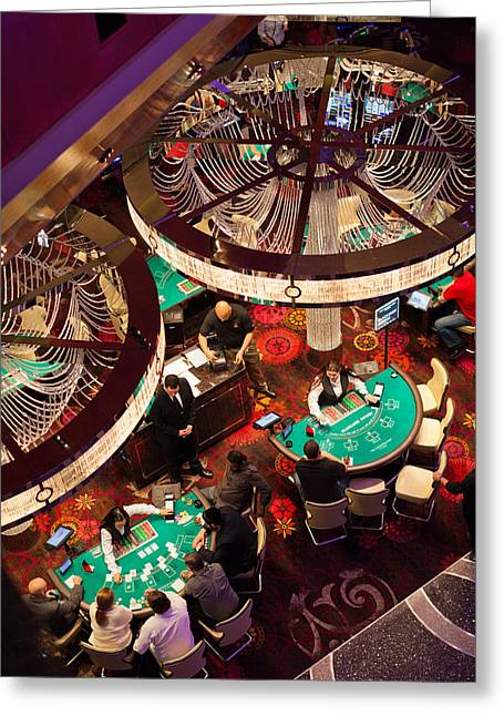 Game Greeting Cards - Tourists At Blackjack Tables In Casino Greeting Card by Panoramic Images
