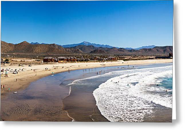 California Beach Greeting Cards - Tourists At Cerritos Beach, Todos Greeting Card by Panoramic Images