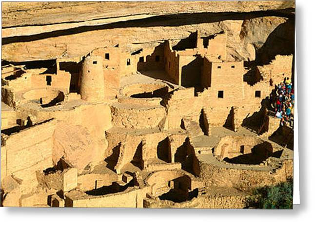 Tourists At Cliff Palace, Mesa Verde Greeting Card by Panoramic Images