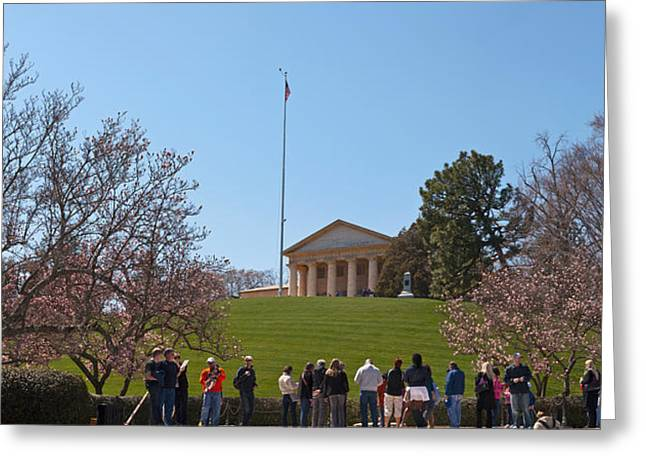 National Cemetery Greeting Cards - Tourists At The Gravesite Of John F Greeting Card by Panoramic Images