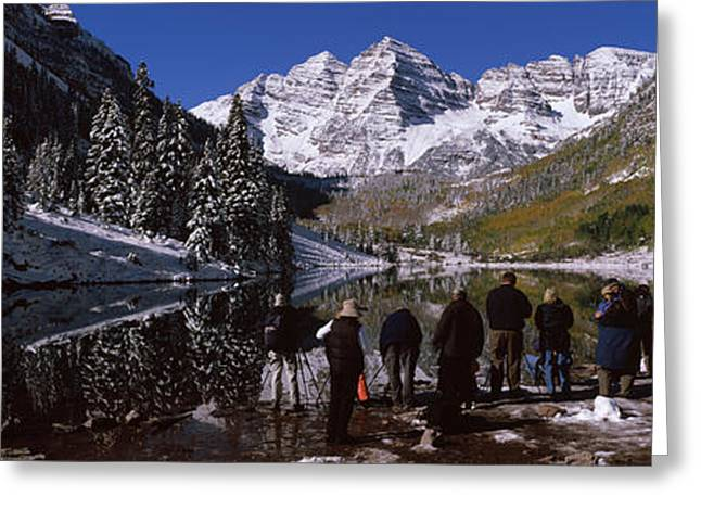 Reflections Of Sky In Water Greeting Cards - Tourists At The Lakeside, Maroon Bells Greeting Card by Panoramic Images