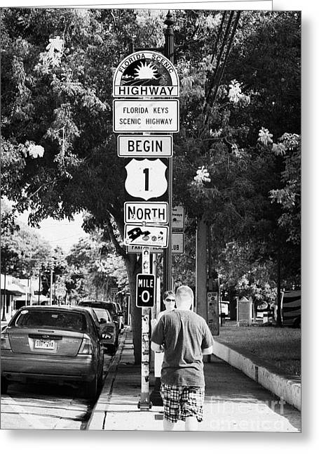 Mile Marker Greeting Cards - Tourists At Us Route 1 Mile Marker 0 Start Of The Highway Key West Florida Usa Greeting Card by Joe Fox