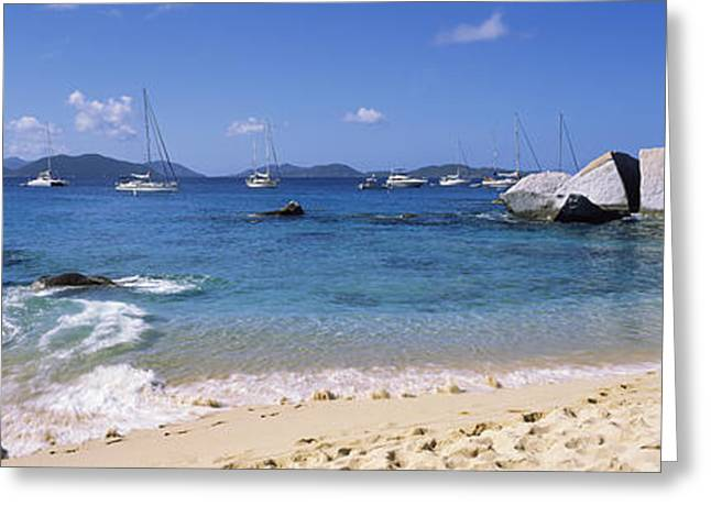 Virgin Gorda Greeting Cards - Tourists Enjoying On The Beach, The Greeting Card by Panoramic Images