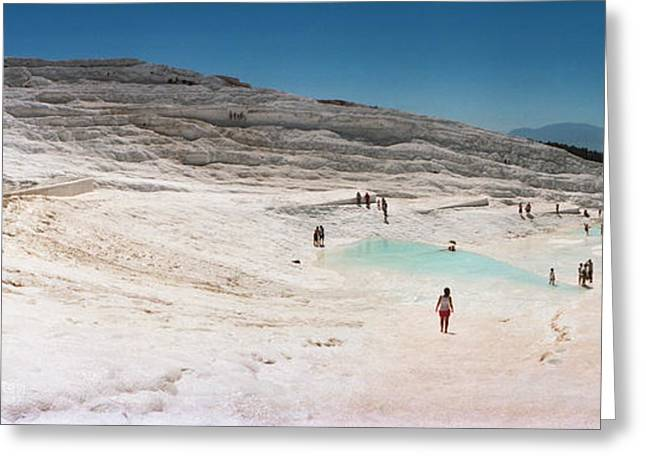 Hot Spring Greeting Cards - Tourists Enjoying The Hot Springs Greeting Card by Panoramic Images