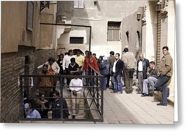 Sergius Greeting Cards - Tourists entering Saint Sargius Church in Egypt Greeting Card by Ashish Agarwal