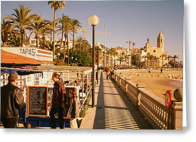 Menu Greeting Cards - Tourists In A Cafe, Tapas Cafe, Sitges Greeting Card by Panoramic Images