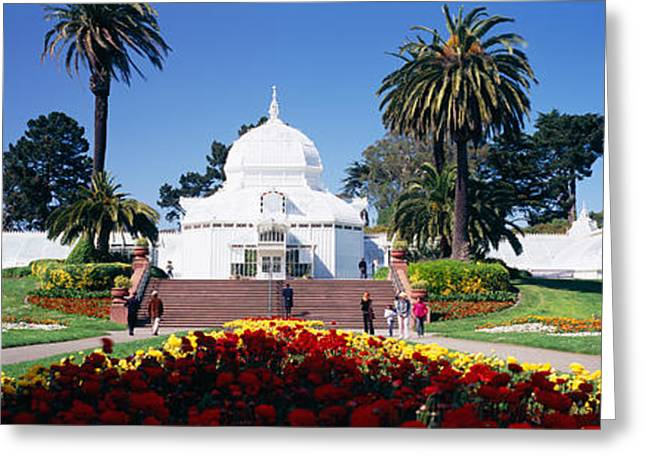 Medium Flowers Greeting Cards - Tourists In A Formal Garden Greeting Card by Panoramic Images