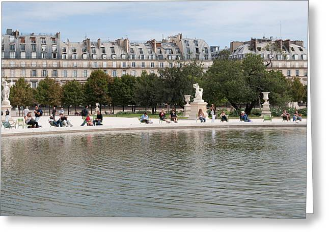 Tuileries Greeting Cards - Tourists In A Garden, Jardin De Greeting Card by Panoramic Images