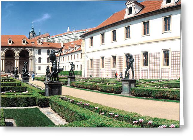 Garden Scene Greeting Cards - Tourists In A Garden, Valdstejnska Greeting Card by Panoramic Images