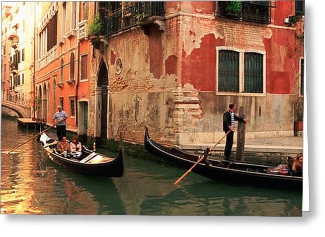 Pot Boat Greeting Cards - Tourists In A Gondola, Venice, Italy Greeting Card by Panoramic Images