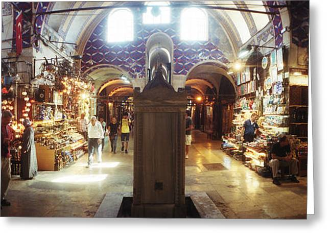 Tourists In A Market, Grand Bazaar Greeting Card by Panoramic Images