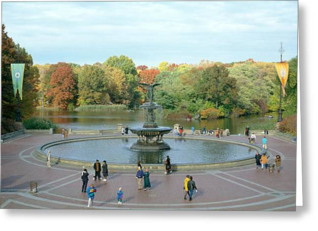 Bethesda Fountain Greeting Cards - Tourists In A Park, Bethesda Fountain Greeting Card by Panoramic Images