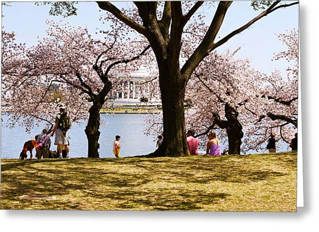 Tidal Basin Greeting Cards - Tourists In A Park With A Memorial Greeting Card by Panoramic Images