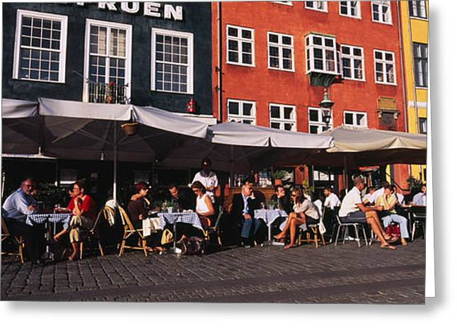 Awning Photographs Greeting Cards - Tourists In A Road Side Restaurant Greeting Card by Panoramic Images