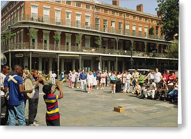 Tuba Greeting Cards - Tourists In Front Of A Building, New Greeting Card by Panoramic Images