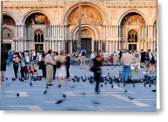 Tourists In Front Of A Cathedral, St Greeting Card by Panoramic Images
