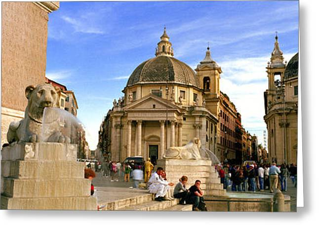 Town Square Greeting Cards - Tourists In Front Of Churches, Santa Greeting Card by Panoramic Images