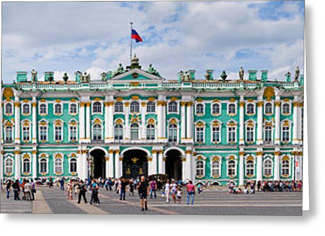 The Hermitage Greeting Cards - Tourists In Front Of Winter Palace Greeting Card by Panoramic Images