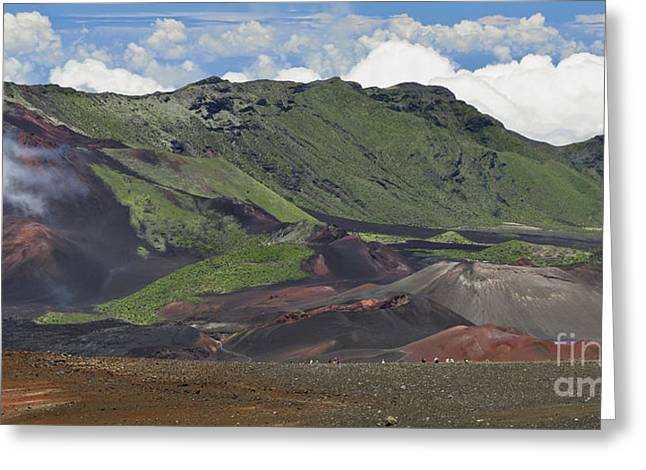 Photogaph Greeting Cards - Tourists in the Haleakala Crater Greeting Card by Frank Wicker