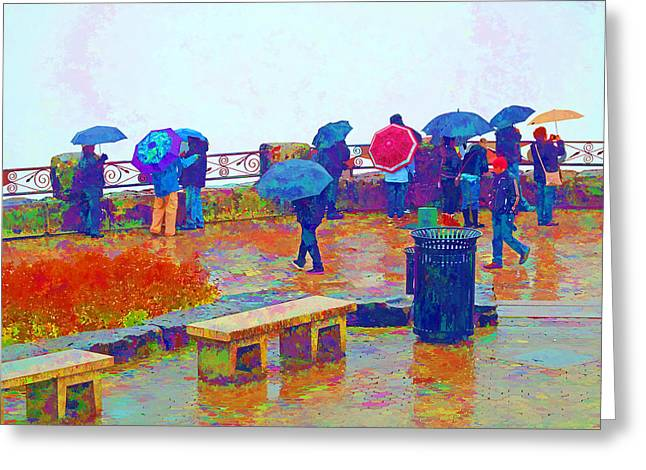 Rose Cottage Gallery Mixed Media Greeting Cards - Tourists in the Rain Greeting Card by Barbara McDevitt