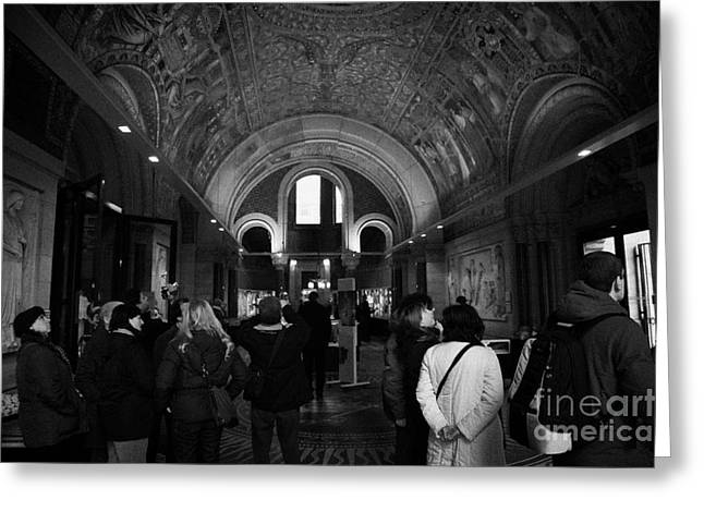 Kudamm Photographs Greeting Cards - tourists inside the Gedenkhalle memorial hall of Kaiser Wilhelm Gednachtniskirche Greeting Card by Joe Fox