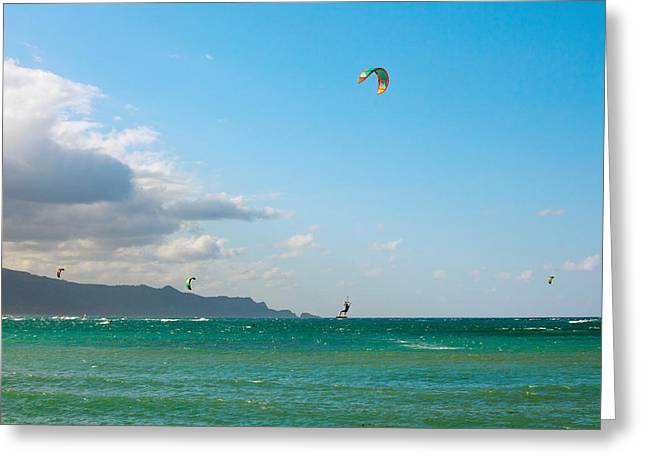 Tourists Kiteboarding In The Ocean Greeting Card by Panoramic Images