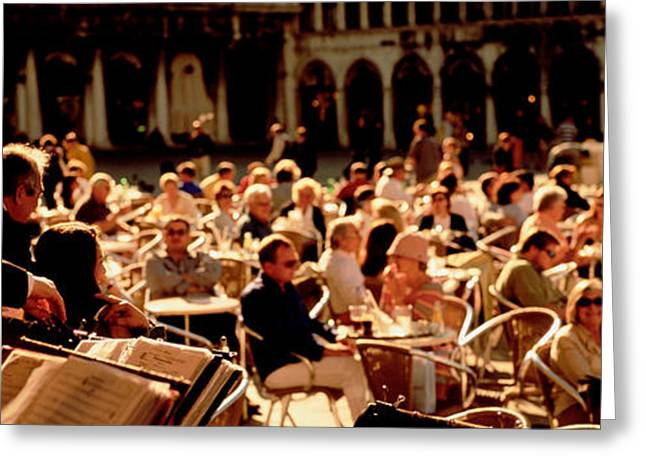 Sidewalks. Arches Greeting Cards - Tourists Listening To A Violinist At A Greeting Card by Panoramic Images