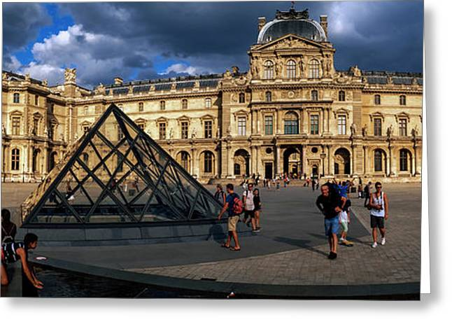 Tourists Near A Glass Pyramid At Musee Greeting Card by Panoramic Images
