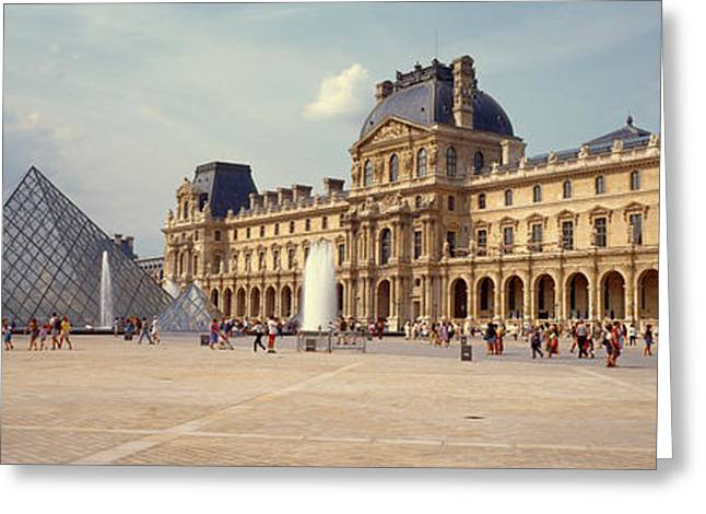 Pyramids Greeting Cards - Tourists Near A Pyramid, Louvre Greeting Card by Panoramic Images