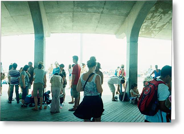 Coney Island Greeting Cards - Tourists On A Boardwalk, Coney Island Greeting Card by Panoramic Images