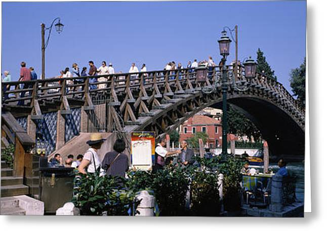 Accademia Greeting Cards - Tourists On A Bridge, Accademia Bridge Greeting Card by Panoramic Images
