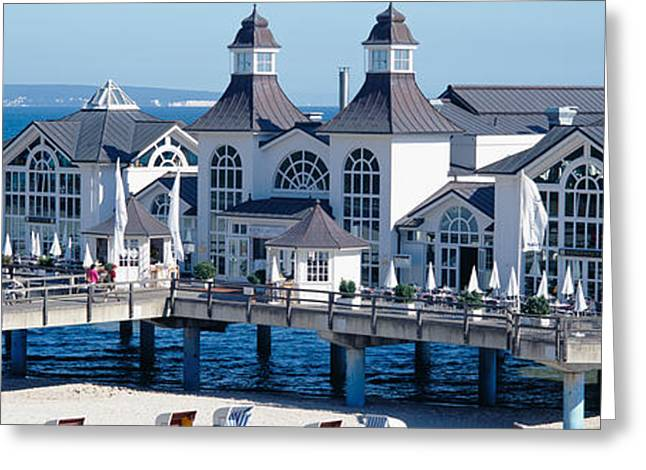 Stilt House Greeting Cards - Tourists On A Bridge, The Seebruecke Greeting Card by Panoramic Images