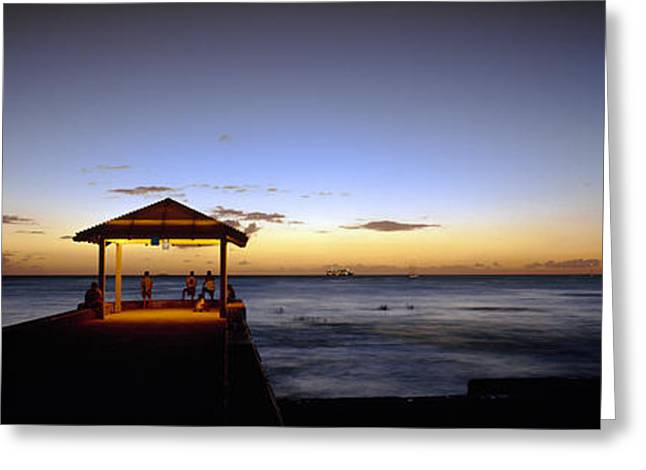 Panoramic Ocean Greeting Cards - Tourists On A Pier, Waikiki Beach Greeting Card by Panoramic Images