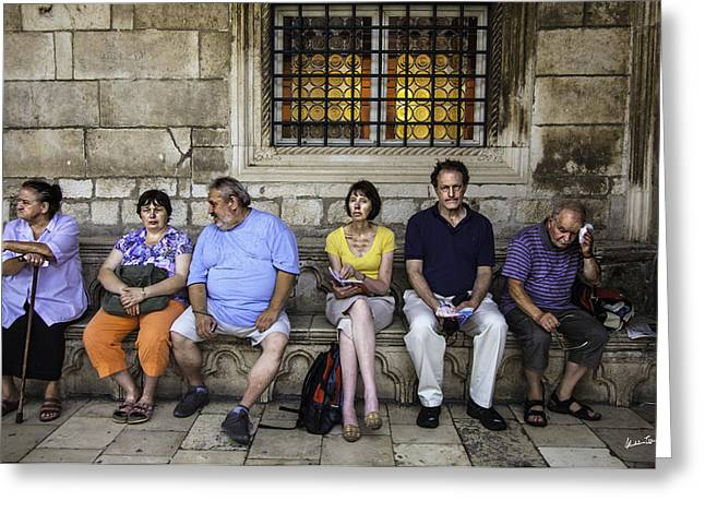 Stone Bench Greeting Cards - Tourists On Bench - Dubrovnic - Croatia Greeting Card by Madeline Ellis