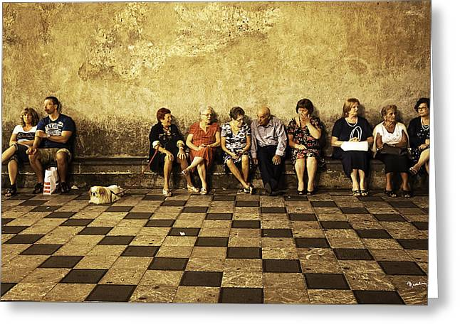 Tourists On Bench - Taormina - Sicily Greeting Card by Madeline Ellis