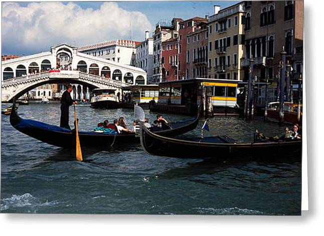Water Vessels Greeting Cards - Tourists On Gondolas, Grand Canal Greeting Card by Panoramic Images