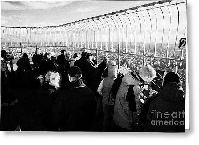 Tourists On Observation Deck Of The Empire State Building New York City Usa Greeting Card by Joe Fox
