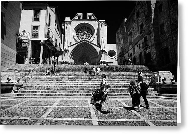 Front Steps Greeting Cards - Tourists On Steps Leading Up To Facade Of Tarragona Cathedral Catalonia Spain Greeting Card by Joe Fox